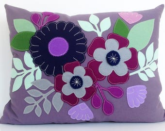 Mexican Flower Bouquet Sham in Plum Cotton with Berry and Blue Wool Felt Applique