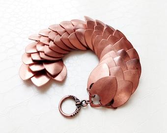 Bracelet 'Eriel' III - Copper scalemaille, dragon scales - Statement bracelet, handmade, Elvish bracelet, boho chic, medieval fantasy