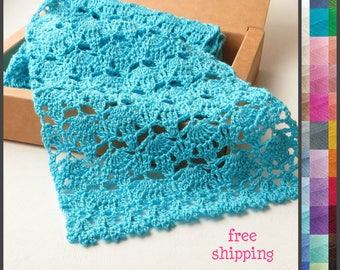 Blue lace scarf, Summer knit scarf, Turquoise scarf, Knitting scarf, Cotton scarf, Lace knit scarf, Mothers day gift, Spring, Ladies scarf.