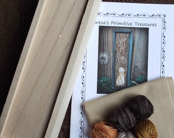 Let It Snow Punch Needle Kit Valdani Threads Box Sliding Lid Pattern Hand drawn Weavers Cloth