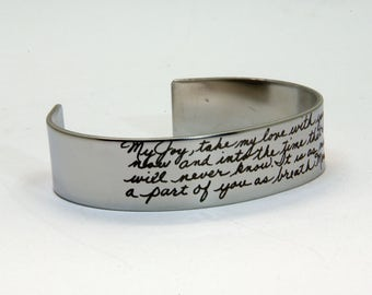 Handwriting Cuff Bangle, Handwritten Bracelet, Wide Band Open Cuff in Stainless Steel, Memorial Gift, Mother's Bangle, Mother's Bracelet