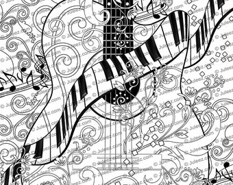 Printable Coloring Poster Adult Coloring Page FREE Violin