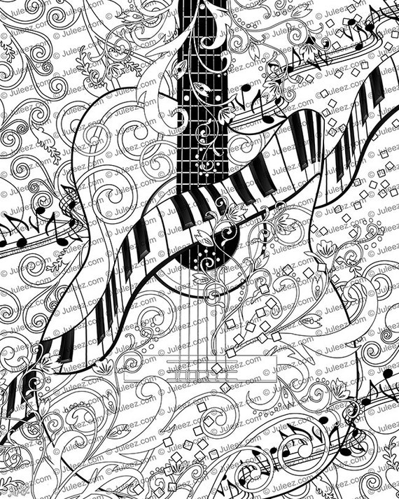 printable coloring pages guitar - photo#7