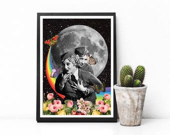 "Surreal collage art, women art print, surreal art, gay print, lesbian print, rainbow print, moon art print- ""You are my favorite thought"""