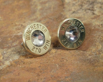 Deer Hunter Earrings Winchester 270 Brass Casings and Clear Crystal