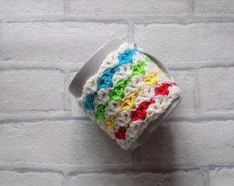 Rainbow crochet mug cosy and mug