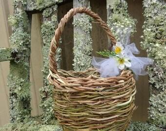 Wedding,Flower Girl Basket, Bucket, Eco Friendly, Rustic Outdoor Wedding,Rustic Easter basket, Wisteria