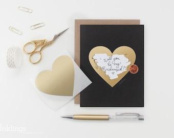 """Scratch-off """"Be My Bridesmaid?"""" Card // Ask Bridesmaids, Maid of Honor Card, Bridesmaid Proposal, Bridesmaid Box // Black & Gold Heart"""