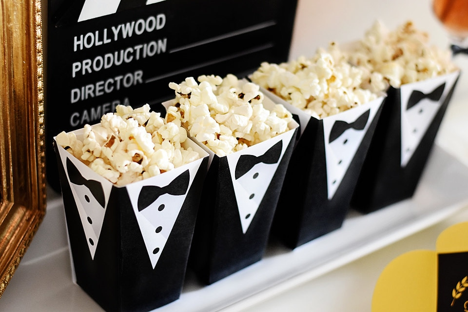 Tuxedo Popcorn Treat Box Instant Download Foldable