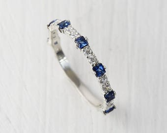 white sapphire wedding gold band pin in eternity bands set blue bezel diamond round princess