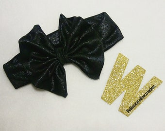 Kids Black Shimmer Messy Bow Infant Toddler Child