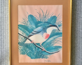 Retro Red Breasted Bird Illustration Print in  Brassy Frame P.Castaneda