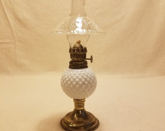 Vintage Small White Hobnail Milk Glass Oil Lamp