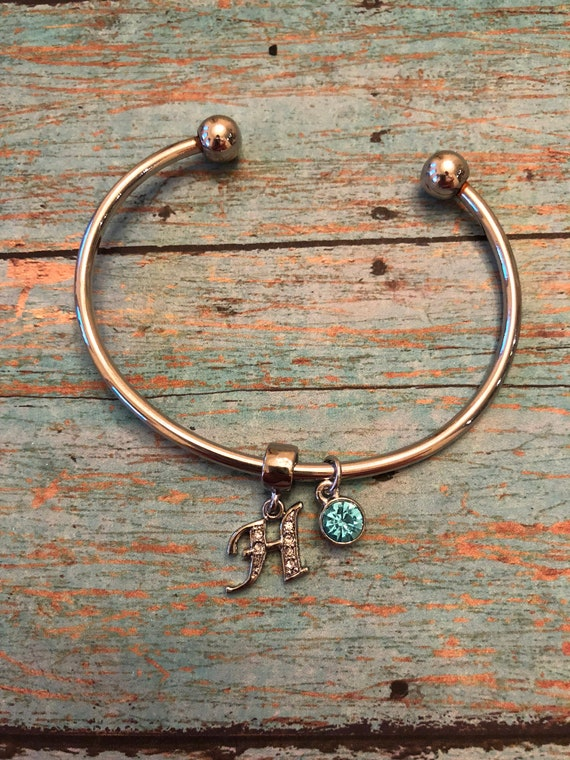 Bangle bracelet with initials