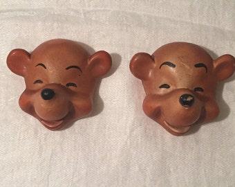 Pair of 1950's Vintage Chalkware Bears - Chalkware Wall Mount Laughing Bears