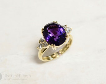 Amethyst and Diamond Ring, 18k Yellow Gold Amethyst and Diamond Cocktail Ring