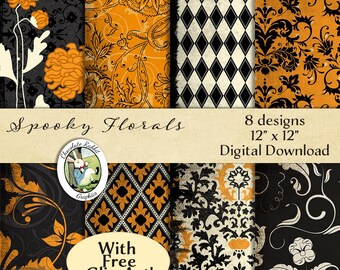 Halloween Paper Damask Digital Download Scrapbook Printable Wrapping Paper Vintage Style Orange Black Free Clip Art Witch Print Graphics Art
