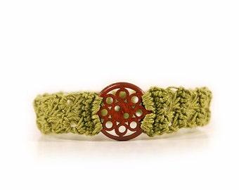 natural bracelet - cotton bracelet - bracelet for women - button bracelet - girlfriend gift - birthday gift - teen girl gift - MudenoMade