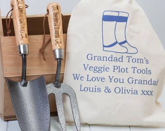 Personalised Garden Trowel And Fork Set with Gift Bag