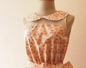 Petite Floral Dress Peter Pan Collar Dress Summer Fashion Retro Vintage Cotton Dress Beige Dress Graduation dress