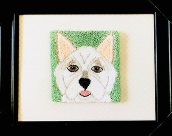 "Finished Punch Needle Embroidery Framed Cairn Terrier - ""Callie the Cairn"" 8 x 10 inch frame"