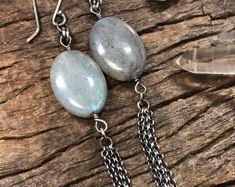 Labradorite and Chain Fringe Dangle  Earrings