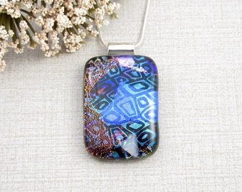 Blue, Fuschia, White and Copper Fused Dichroic Necklace - Contemporary Layered Fused Glass Pendant - Handmade Glass Jewelry