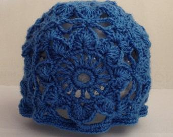 crochet beanie, crochet beanie hat, crochet hat, beanie hat, blue floral hat, blue beanie hat, boho beanie hat, woman's beanie hat