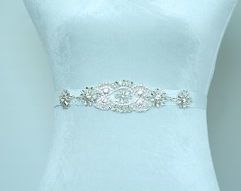 SQA-12 / Rhinestone Bridal Ribbon Sash / Double Faced Ribbon Sash / Bridal Sash / Bridal  / Embellished Sash / Wedding Belt / Bridal Belt