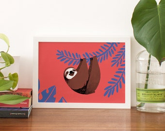 Print of a happy sloth hanging from a tropical plant. Animal nursery giclee art print illustration in persian blue, vermilion red and brown.