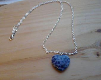 Sodalite heart necklace, blue heart stone necklace, stone heart chain, silver plated chain, sodalite stone heart pendant, blue stone heart