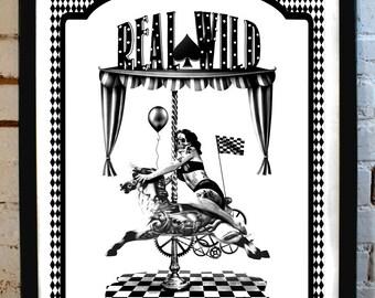 Real Wild - Tattooed PinUp Skull Biker - limited edition Illustration poster
