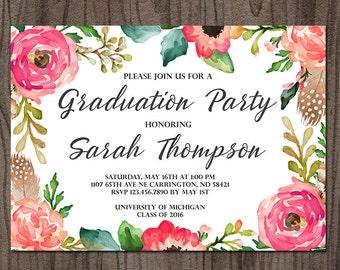 Floral Graduation Invitation, Graduation Open House Party, High School Graduation, College Graduation, Grad Announcement, class of 2018