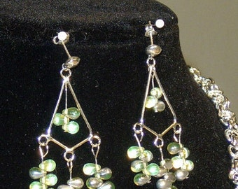 Green glass chandelier earrings *gift for her *birthday gift *friend gift *jewelry gift