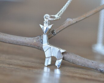 Sterling Silver Origami Giraffe Necklace, Giraffe Necklace, Geometric Giraffe Necklace, Giraffe Charm Necklace, Jamber Jewels