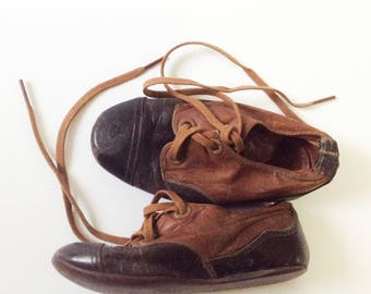 Vintage Leather Soled Child's Shoes, Two Tone Brown and Black Boy's Shoes