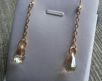 Golden Shadow Cabriolette Drop Earrings with Swarovski Crystals