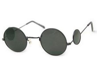 Vintage Double Circles Sunglasses. Vintage Round Sunglasses With Round side Circles. Black Wire Round Vintage Sunglasses. Round Retro Specs