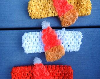 Candy Corn Shabby on Crochet Hair Headband