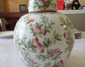 "Large 11"" Japanese Floral Cloisonne Enamel Vase / Urn with Top"