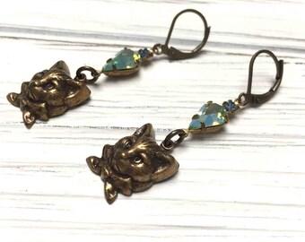 Rhinestone Kitty Earrings. Long Drop Earrings. Dangle Earrings. Teal. Lever Back. Handmade Jewelry.