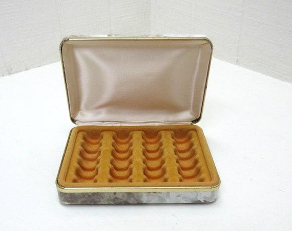 Vintage Mele 24 Ring Holder Jewelry Storage Travel Carry On Box