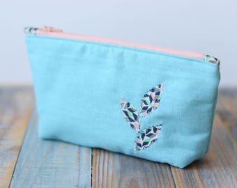 Cosmetic bag, Linen cosmetic bag, Blue makeup bag, Small cosmetic bag, Travel case, Makeup case, Fabric makeup bag, Zipper cosmetic bag