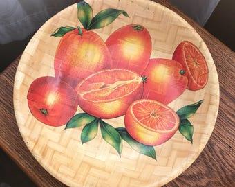 Vintage 1960's Bamboo Bowl Orange Artwork