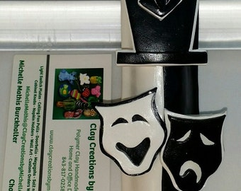 Drama Comedy Tragedy Mask  - Black and White Mezuzah Cover