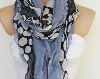 Gray Black  and White Stone Polka Dot Long Scarf-New Season-RuffleScarf-Headband-Necklace- Infinity Scarf- Spring Accessory-Cotton Scarf