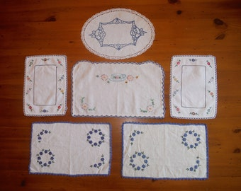 6 Vintage Embroidered Floral Linens - Embroidery Crochet Crocheted Lace Blue Navy Flowers Teacup Table Linens Lot - Bulk Embroidery
