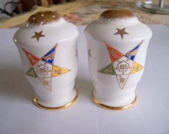 Order of Eastern Star, Salt and Pepper Set, Collectible Vintage China, S & P Made in England, Royal Stafford