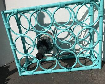 Vintage rehabbed wicker wine rack