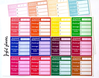 Account Balances planner stickers for ECLP Erin Condren Life Planner or MAMBI Happy Planner Ready To Ship!
